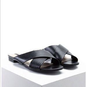 Shoes - Black faux leather slides